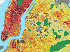 The map represents an estimate of the total annual building energy consumption at the block level and at the tax lot level for New York City, and is expressed in kilowatt hours (kWh) per square meter of land area. A mathematical model based on statistics, not individual building data, was used to estimate the annual energy consumption values for buildings throughout the five boroughs. Learn more: sel-columbia.github.io/nycenergy/. Credit: Map created by Shaky Sherpa of Sustainable Engineering Lab (formerly Modi Research Group) Data Source: Spatial distribution of urban building energy consumption by end use B. Howard, L. Parshall, J. Thompson, S. Hammer, J. Dickinson, V. Modi