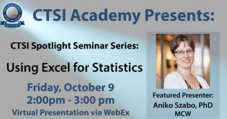 CTSI Academy Spotlight Seminar Series Continues October 9, 2020