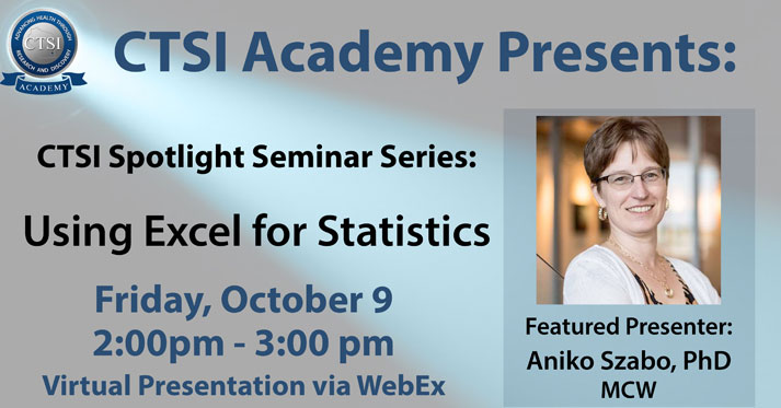 Using Excel for Statistics @ WebEx